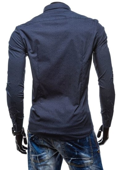 Рубашка мужская N. Men 7182 темно-синяя