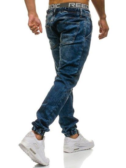Темно-синие мужские джинсовые брюки джоггеры Bolf 408-1