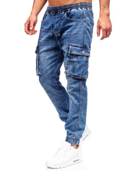 Темно-синие мужские джинсовые джоггеры карго Bolf K10005
