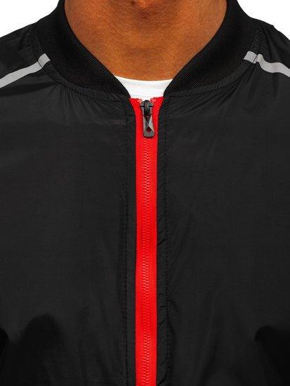 Черная мужская демисезонная куртка бомбер Bolf M10291