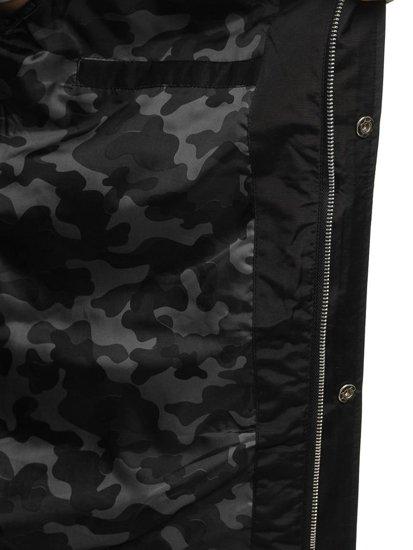 Черная мужская демисезонная куртка Bolf F202
