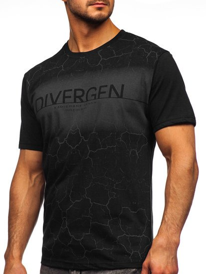 Черная мужская футболка с принтом Bolf 14424