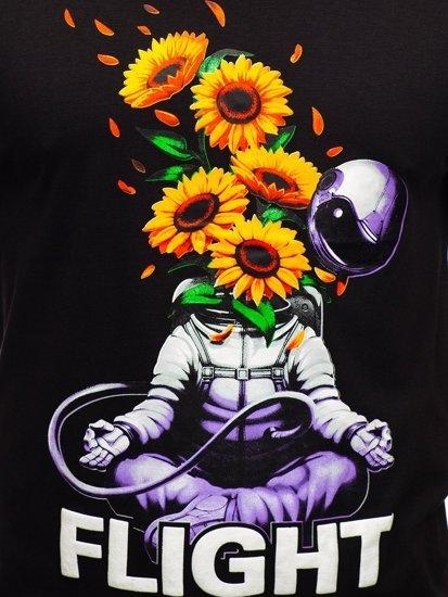 Черная мужская футболка с принтом Bolf S10022