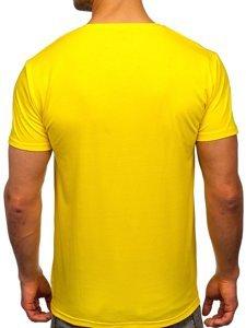 Желтая мужская футболка с принтом Bolf Y70019