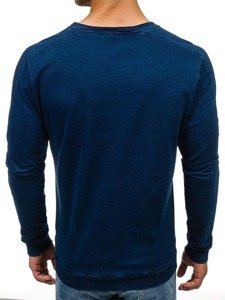 Мужская толстовка без капюшона темно-синяя Bolf 2701