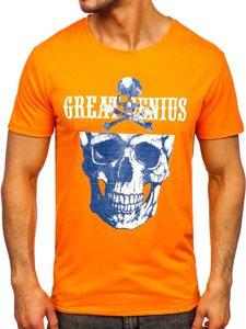Оранжевая мужская футболка с принтом Bolf Y70005