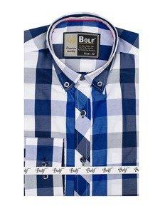 Рубашка мужская BOLF 4791 темно-синяя