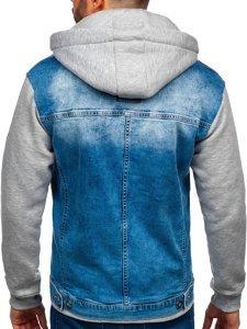 Синяя мужская джинсовая куртка с капюшоном Bolf 10350