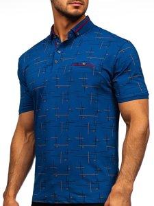 Синяя мужская футболка поло с принтом Bolf 192232