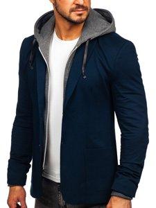 Темно-синий мужской повседневный пиджак с капюшоном Bolf 66