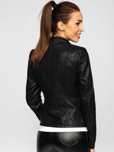 Черная женская кожаная куртка Bolf 2052