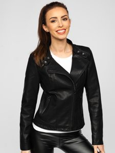 Черная женская кожаная куртка Bolf 2055