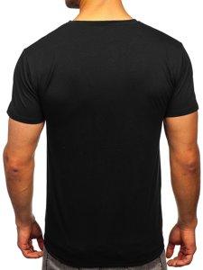 Черная мужская футболка с принтом Bolf Y70011