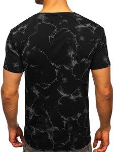 Черная мужская футболка с принтом Bolf Y70026