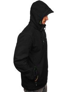 Черно-зеленая мужская куртка софтшелл Bolf WX059