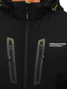 Черно-зеленая мужская куртка софтшелл Bolf WX063