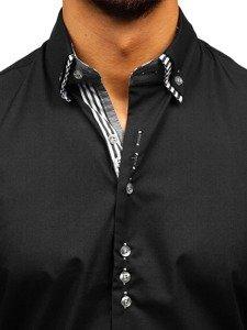 Элегантная мужская рубашка с длинным рукавом черная Bolf 4703