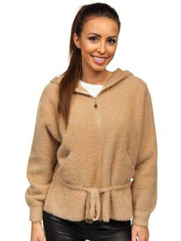 Бежева жіноча демісезонна куртка з капюшоном Bolf 8807