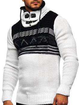 Білий чоловічий светр товстої в'язки з коміром-стійкою Bolf 2020