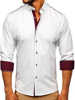 Біло-бордова елегантна чоловіча сорочка з довгим рукавом Bolf 5722-1