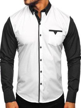 Елегантна чоловіча сорочка з довгим рукавом, чорна Bolf 5726-1