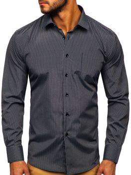 Елегантна чоловіча сорочка у смужку з довгим рукавом, чорна Bolf NDT10