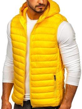 Жовтий стьобаний чоловічий жилет з капюшоном Bolf LY36