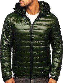 Зелена демісезонна чоловіча стьобана куртка Bolf 6794
