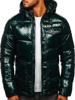 Зелена стьобана зимова чоловіча спортивна куртка Bolf 973
