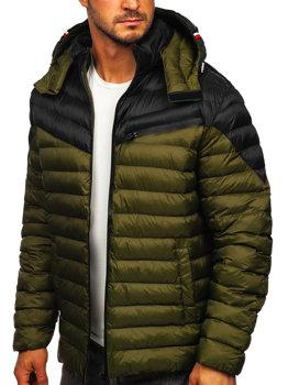 Зелена стьобана чоловіча демісезонна куртка Bolf M13012