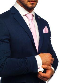 Комплект чоловіча краватка, запонки, хустка-паші рожевий Bolf KSP01