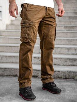 Коричневі чоловічі штани карго plus size з поясом BOLF CT8901