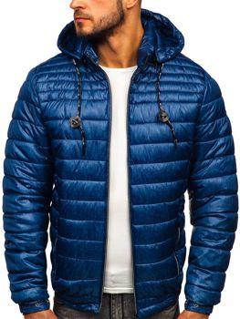 Куртка чоловіча демісезонна спортивна стьобана темно-синя Bolf 50A411
