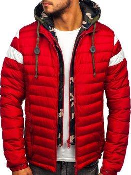 Куртка чоловіча демісезонна спортивна стьобана червона Bolf 50A462