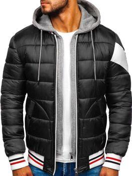Куртка чоловіча демісезонна спортивна стьобана чорна Bolf JK395