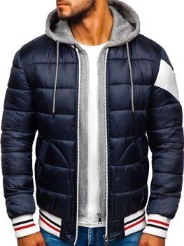 Куртка чоловіча зимова спортивна темно-синя Bolf JK395