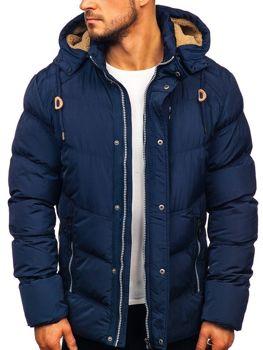 Куртка чоловіча зимова стьобана темно-синя Bolf 1664