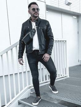 Куртка чоловіча шкіряна утеплена чорна Bolf 92530