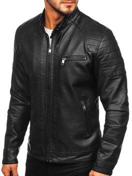 Куртка чоловіча шкіряна biker чорна Bolf 88902