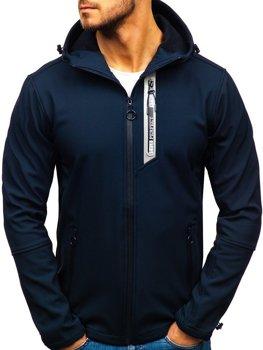 Мужская демисезонная куртка софтшелл темно-синяя Bolf 5480-A