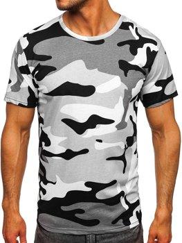 Світло-сіра бавовняна футболка чоловіча з принтом камуфляж Bolf 14930