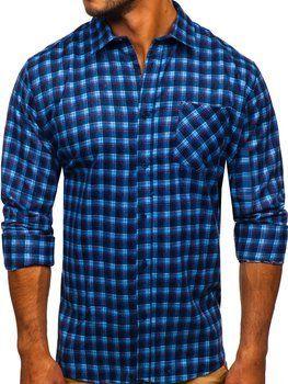 Синя чоловіча фланелева сорочка з довгим рукавом Bolf F9