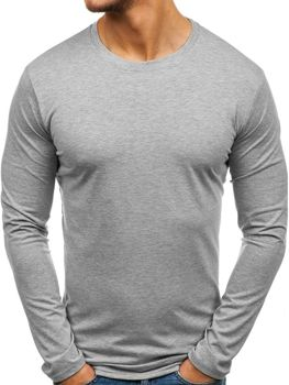 Сіра чоловіча футболка з довгим рукавом без принта Bolf 135 9468a12d489f6