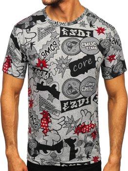 Сіра чоловіча футболка з принтом Bolf 14917