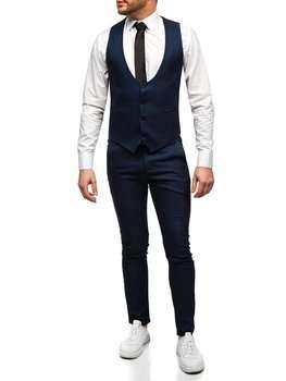 Темно-синій комплект чоловічий жилет і штани Bolf 0020