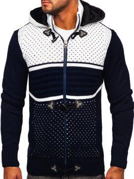 Темно-синій чоловічий светр товстої в'язки Bolf 2047