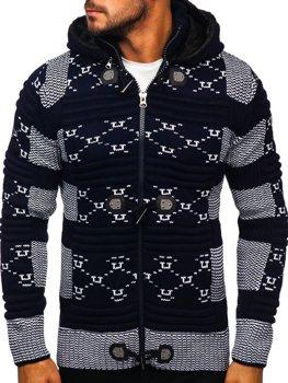 Темно-синій чоловічий светр товстої в'язки Bolf 2059
