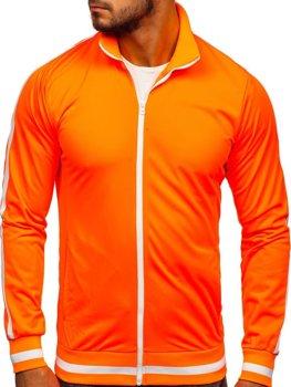 Толстовка чоловіча без капюшона ретро стиль помаранчева Bolf 2126