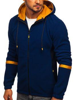 Толстовка чоловіча флісова з капюшоном темно-синя Bolf YL007