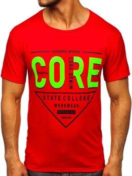 Червона чоловіча футболка з принтом Bolf KS2098